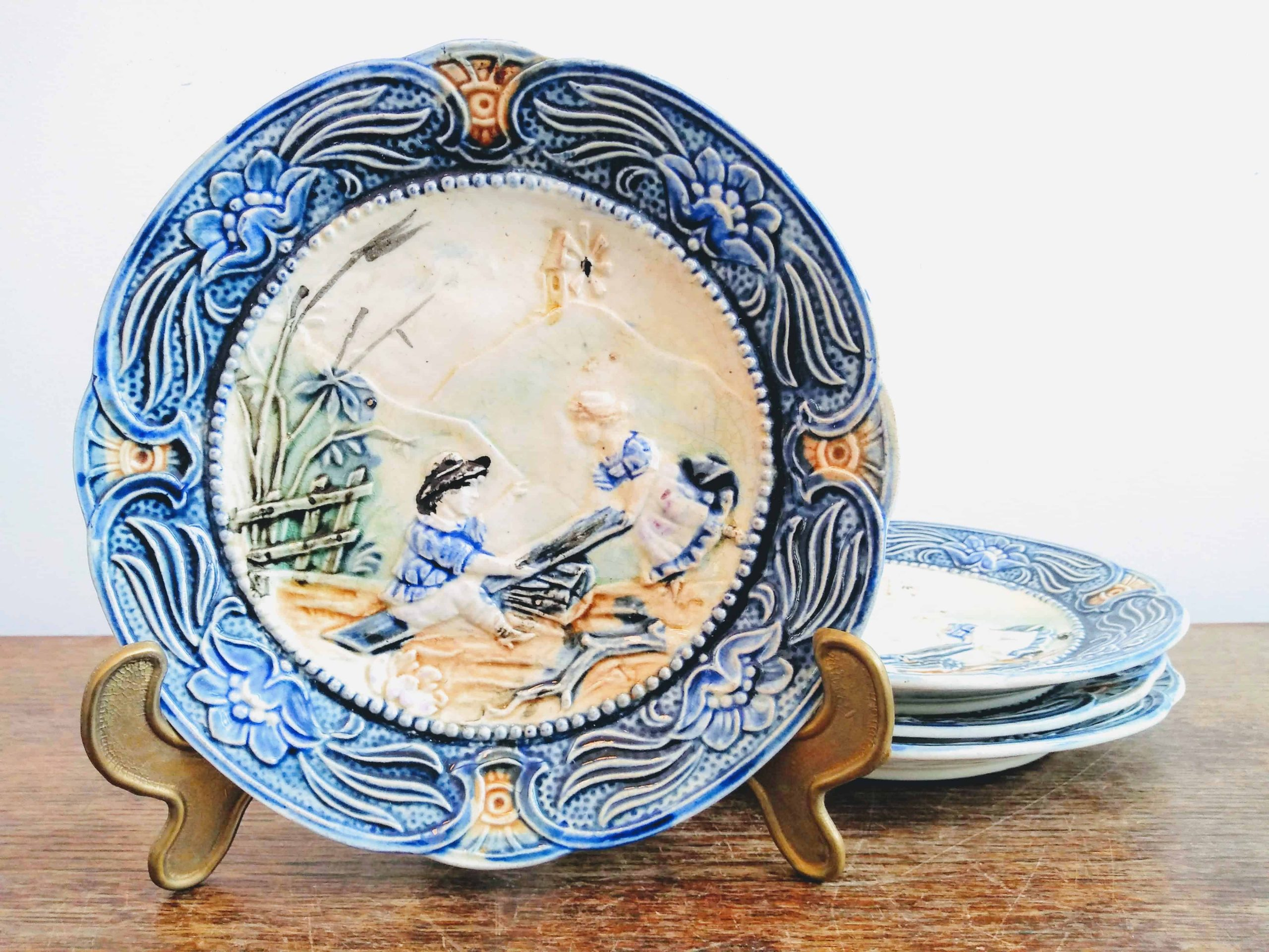 Vintage French Ceramic Lunch Sandwich Plates Featuring A See Saw White Blue Plate Platter Set Of Four Display C1910 20 S European Vintage Emporium