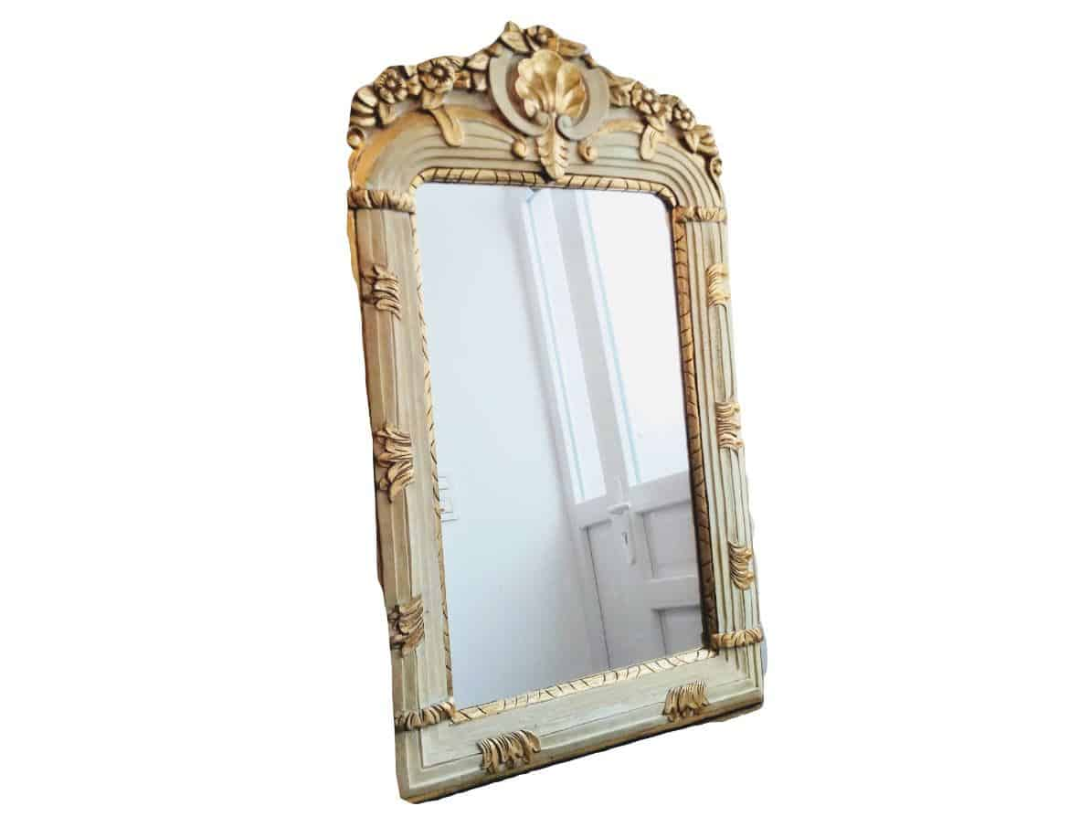 Vintage French Wood Fancy Framed Ornate Painted Gold Wall Hanging Colourful Large Mirror Wooden Framed Heavy C1980 90 S European Vintage Emporium